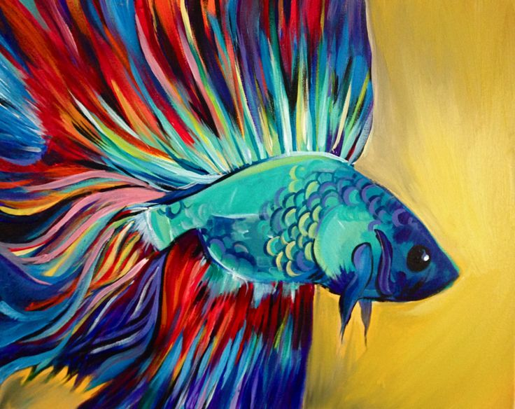 8 best art lab paint night at city fish images on for Betta fish painting