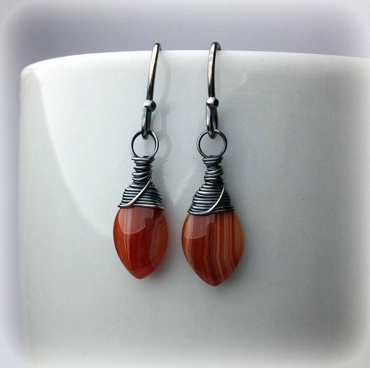 Carnelian Earrings, Orange Earrings, Small Dangle Earrings, Drop Earrings, Wire Wrapped Silver Jewelry 925, Brown Earrings, Gift For Women #jewelry #earrings #orange #handmadeearrings #dropearrings #carnelianearrings #valentinesgift
