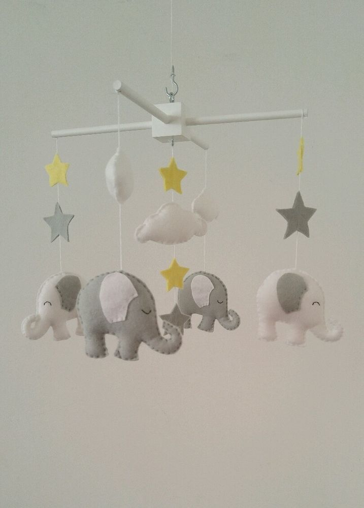 White and light grey elephant mobile - with stars and clouds baby mobile    eBay