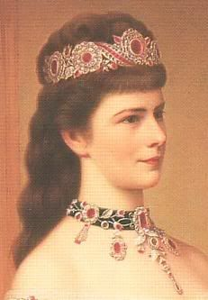 Empress Elizabeth of Austria (Sissi) in the ruby parure.  The set is composed of rubies, gold and pearls, with the foundation of the necklace in black velvet.