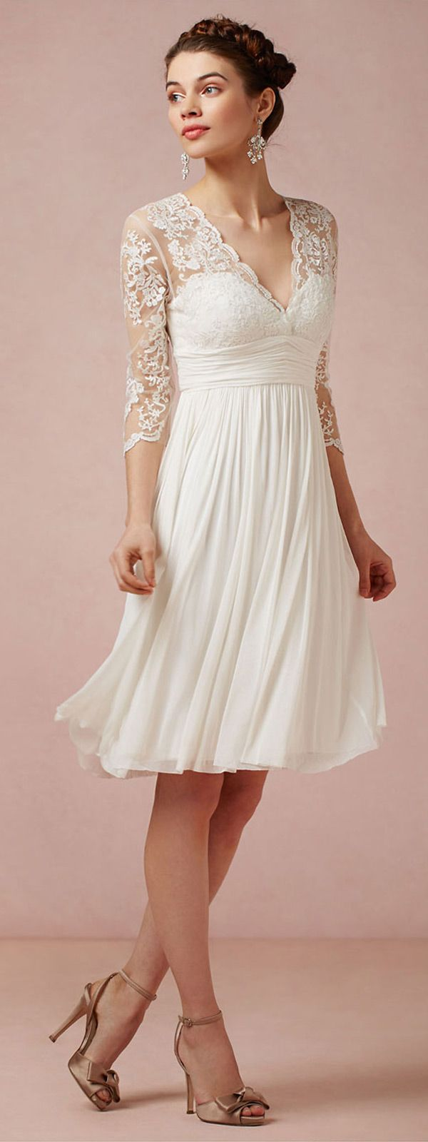 Amazing Tulle & Chiffon & Stretch Charmeuse Satin A-line V-neck Empire Waist Short Wedding Dress