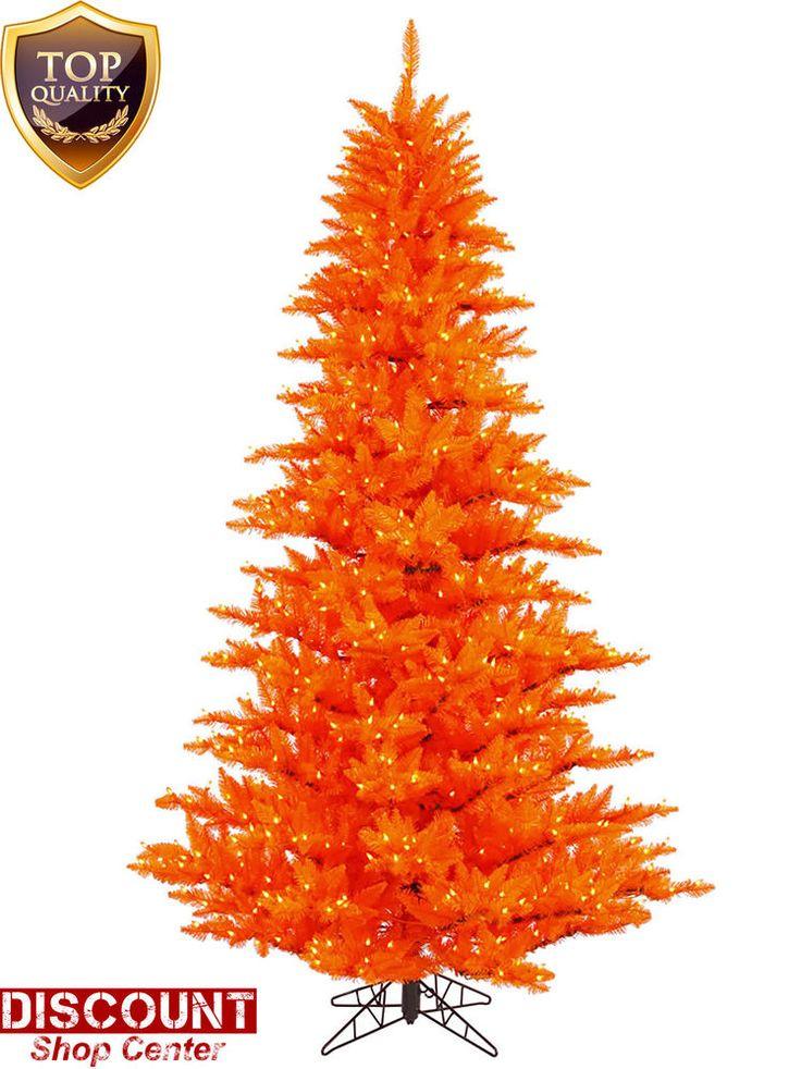 Fancy  FT Orange Christmas Tree LED Lights Halloween w Stand Electric Holiday Party SchneepartyK nstliche Weihnachtsb umePartygeschenkeLichterkettenDrinnen