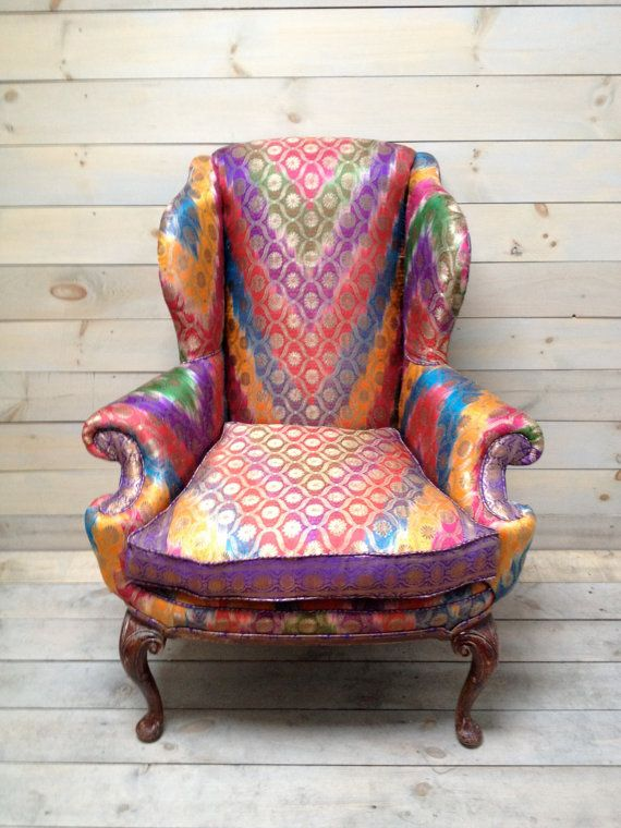 Wingback Armchair Upholstered in Antique Sari by chezboheme,