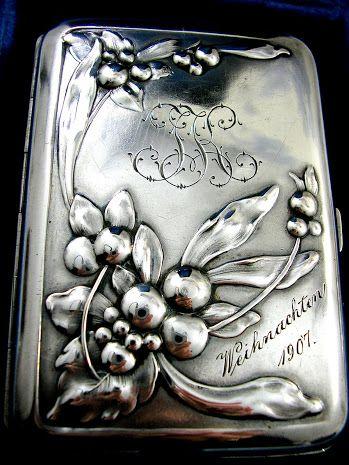 Antique Art Nouveau Silver Card Case Dated Christmas 1907.