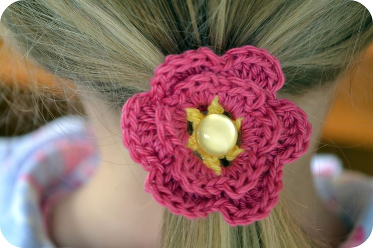 Crochet flower hair tie Accessories to make Pinterest
