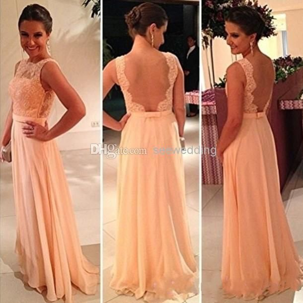 Cheap Peach Bridesmaid Dresses Wedding Guest Dress Sheer High Neck Lace Chiffon Backless Evening 2014 Prom Long As Low