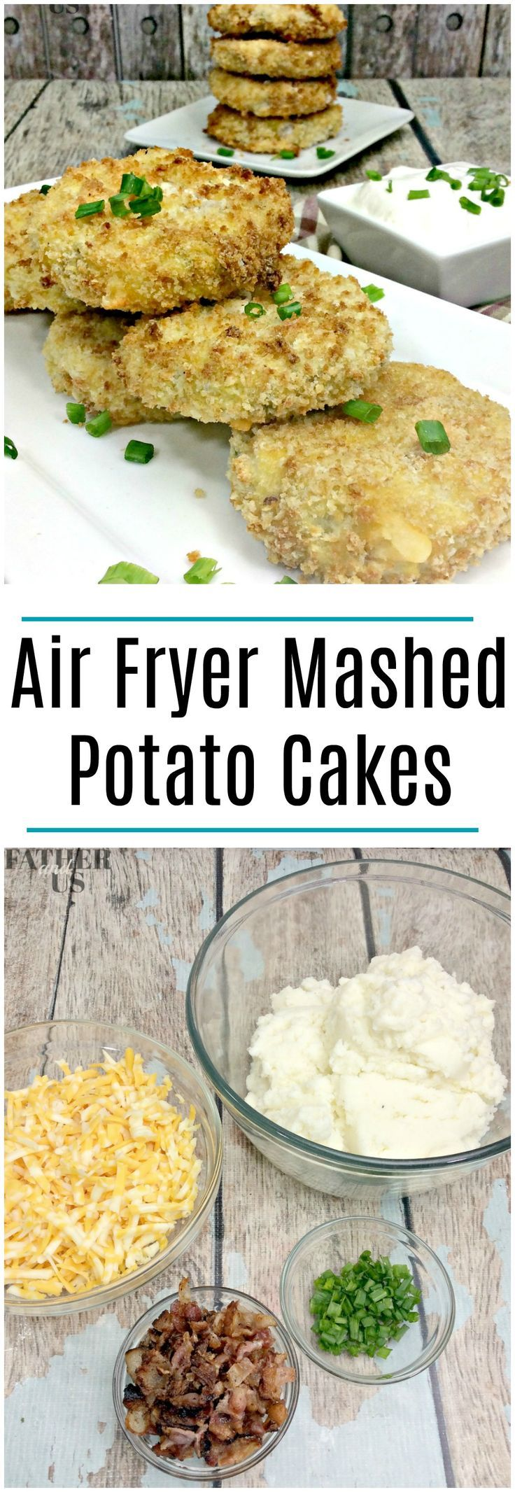 Loaded Mashed Potato Cakes-An Easy Air Fryer Recipe These yummy mashed potato cakes are the perfect appetizer for your next party. They are east to make, easy to eat and look great on an appetizer platter. They are crispy on the outside with a rich, warm potato filling. #airfryer #potatoes