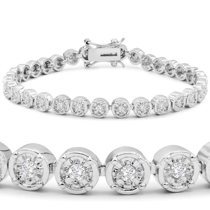 1 Carat Miracle Set Diamond Bracelet 7 Inches Superjeweler Diamond Bracelet Simple Diamond Bracelets Jewelry