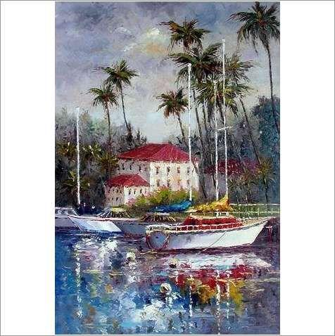 Original Oil On Canvas 'An Exotic Mooring' on eBid United Kingdom