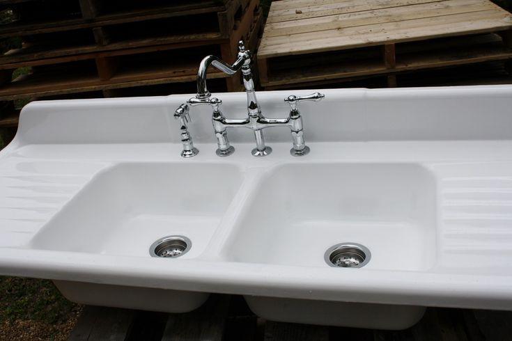 1940 Cast Iron Farmhouse Sink, (66 X 24) Double Basin & Double Drain ...