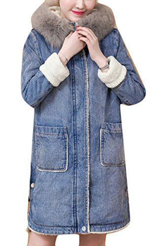 7a713c56e85 Oberora Womens Faux Fur Lined Faux Fur Hoodie Long Denim Jacket Parkas  Coats Outwear