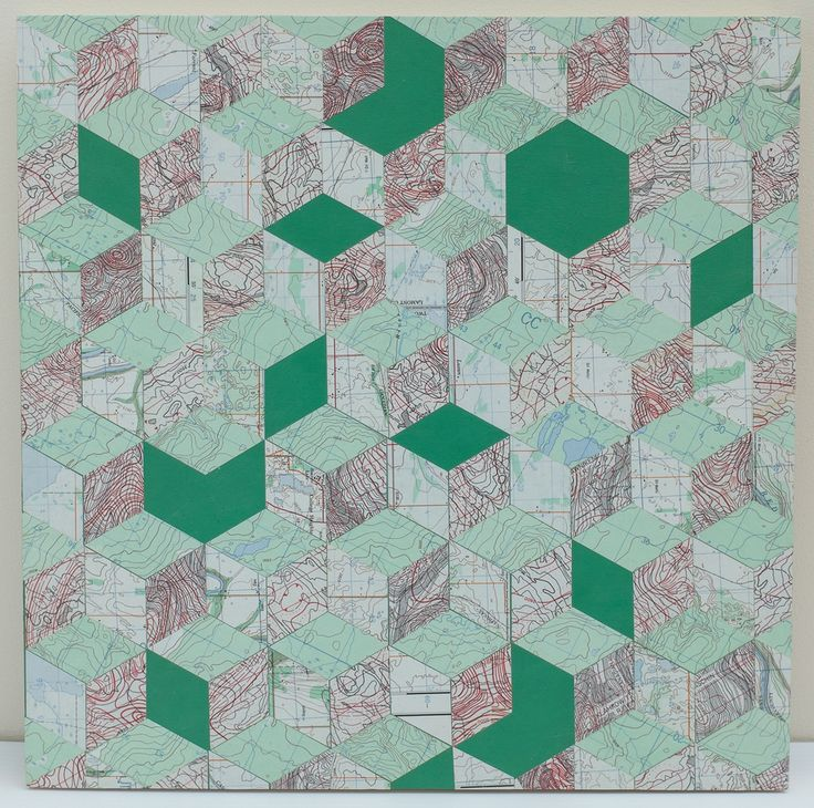 "16"" X 16"" X 3/4"" Necker Cube Map Collage on wood panel"