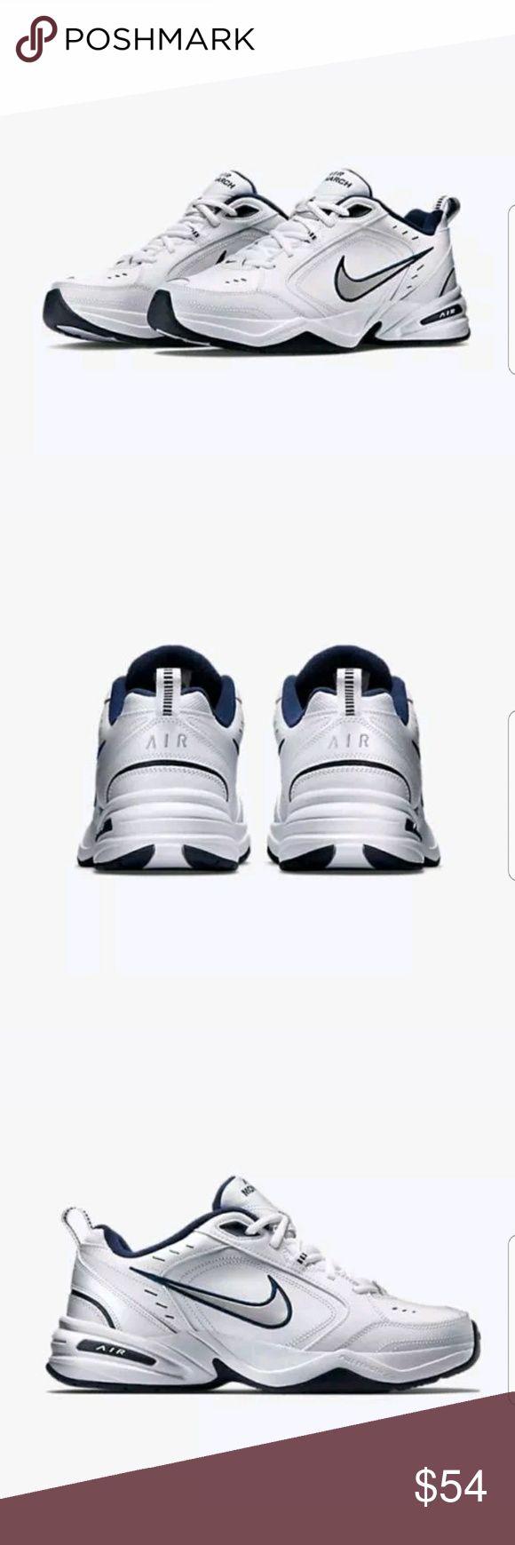 Nike Air Monarch 4 White Silver 415445-102 Navy Nike Air Monarch 4 Medium 415445-102 White Silver Navy Mens?  NEW WITHOUT BOX  SZ: 10.5     2.8 Nike Shoes Sneakers