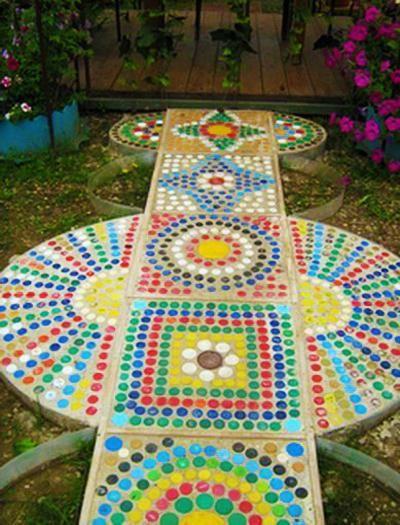 reciclaje de plástico para el diseño de jardines y exterior de la casa de decoración