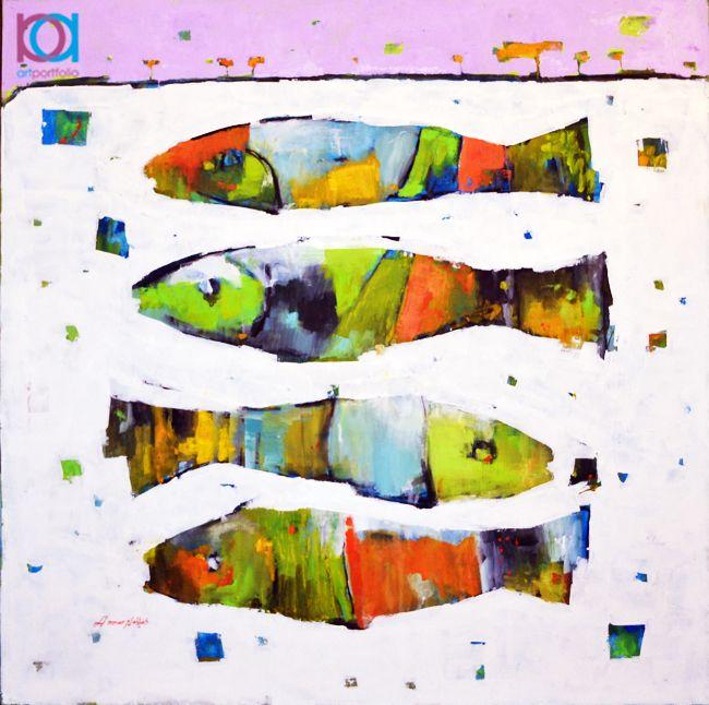Ammar Alnahhas - Peşti / Fish, 35 x 35 cm, ulei pe pânză / oil on canvas