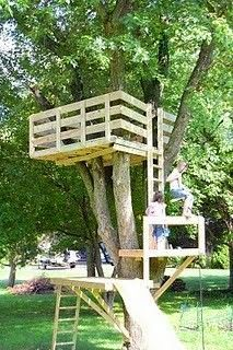 My Daddy built a treehouse much like this one for my brother and me. Ours just had one level and a trap door. We played out there a lot.