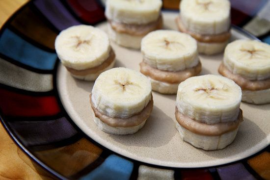 Frozen Peanut Butter and Banana Bites.   I have learned to love these things. its a great snack