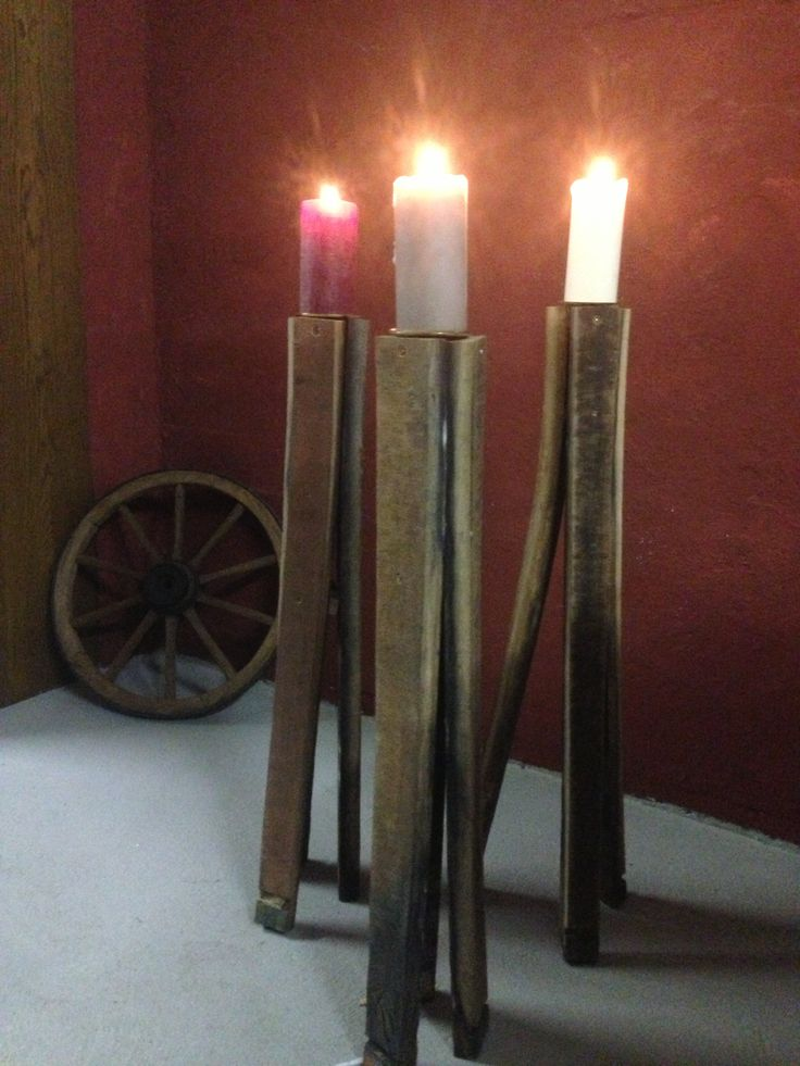 Candle holders from wine barrel stave (made by WeinARTig)