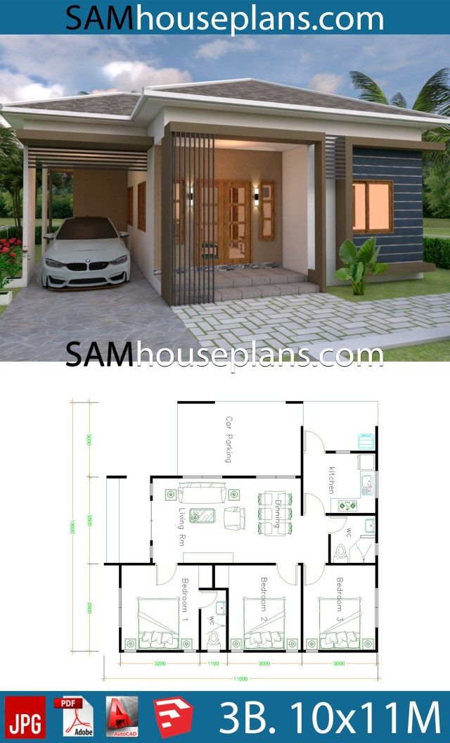 House Plans 10x11 With 3 Bedrooms Roof Tiles Sam House Plans Simple Bungalow House Designs Modern Bungalow House House Plans