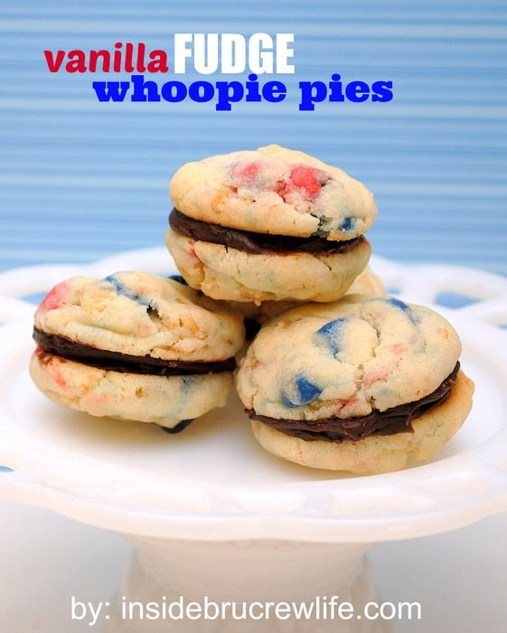 Vanilla Fudge Whoopies - easy cake mix cookies filled with fudge frosting