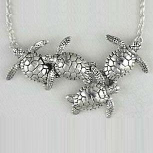 Kabana Four Sea Turtle Necklace Sterling Silver