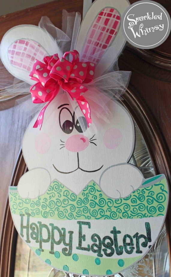 Easter Bunny in Egg Door Hanger Sign by SparkledWhimsy on Etsy, $35.00