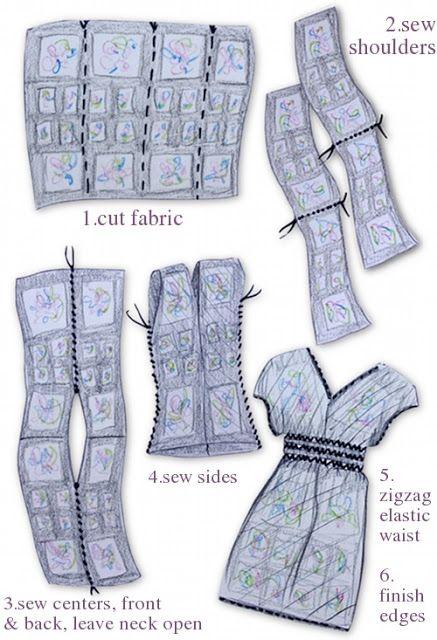 Moda, belleza, complementos: Tutorial: cómo hacer un vestido con un trozo de tela rectangular