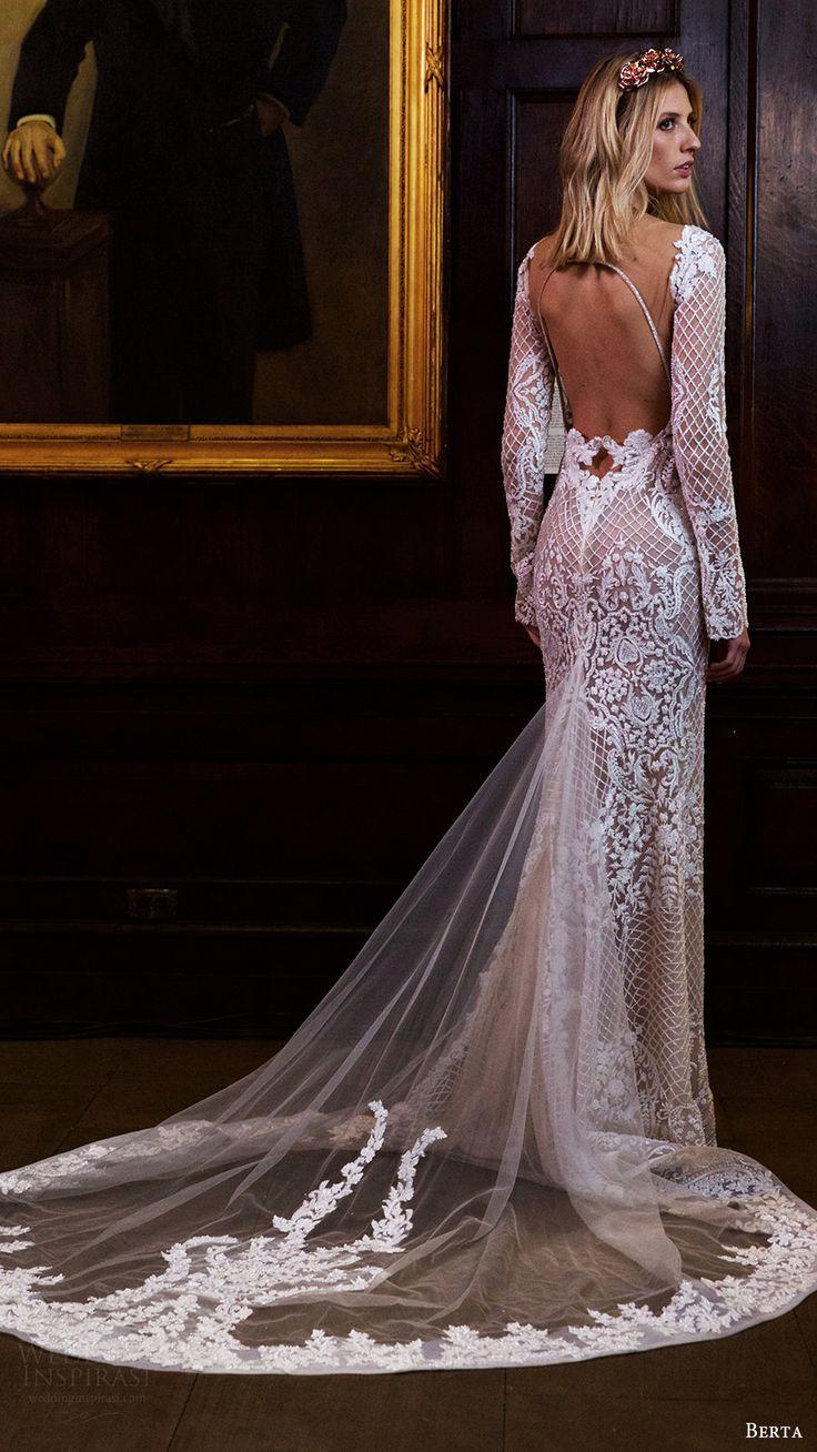 berta bridal fall 2016 long sleeves split sweetheart fully beaded sheath wedding dress (16 123) bv keyhole back train