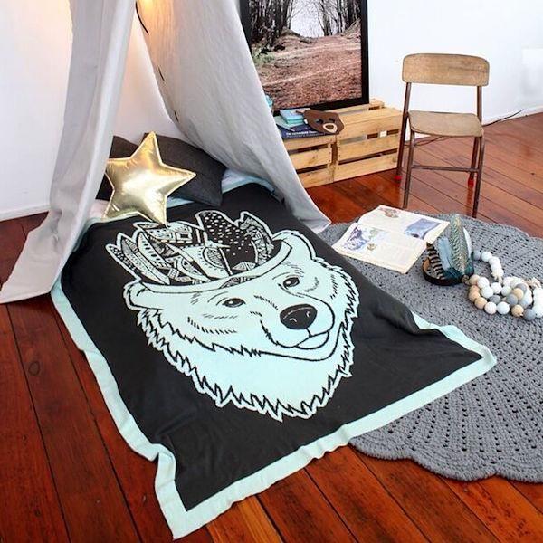 Tea Pea - Burrow & Be Toddler Blanket - Bear