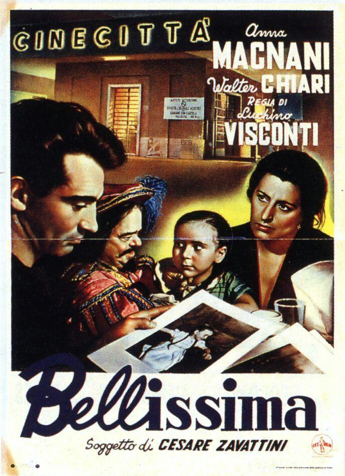 Bellissima - film di Luchino Visconti 1951 con Anna Magnani, Walter Chiari e la piccola Tina Apicella. Soggetto di Cesare Zavattini