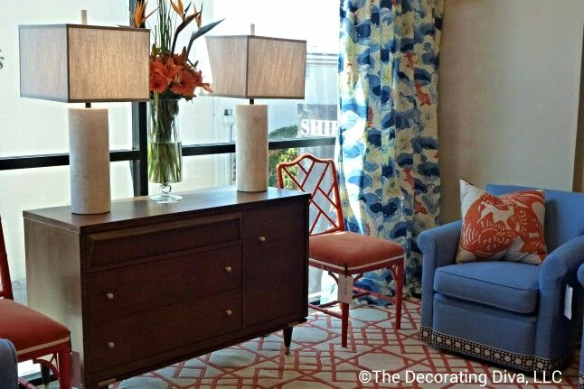 Love the CR Laine showroom - positively happy colors and decor like this sunny, cheerful and stylishly colorful living room furniture and rug. #hpmkt High Point Market fall 2013: Living Room