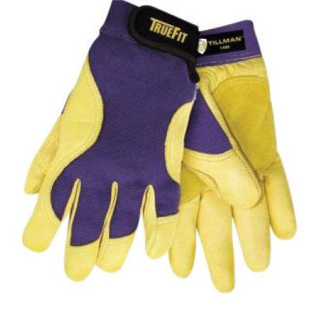 Tillman 2X Blue And Gold TrueFit Premium Full Finger Top Grain Deerskin And Spandex Mechanics Gloves With Elastic Cuff, Double Leather Palm, Reinforced Thumb, And Smooth Surface Fingers