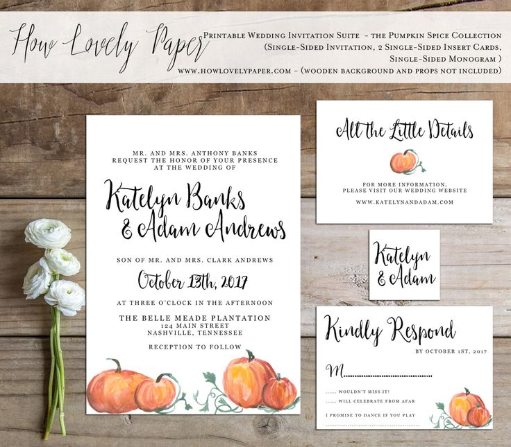 Printable Fall Wedding Invitation Suite The By HowLovelyPaper