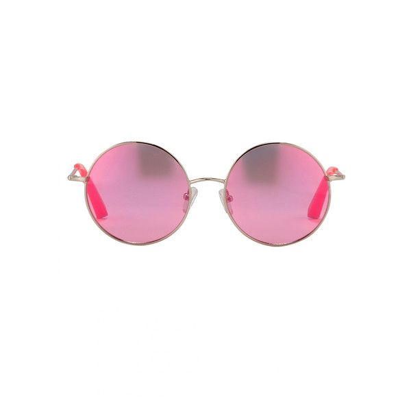 Matthew Williamson Neon Pink Round Revo Sunglasses ($325) ❤ liked on Polyvore featuring accessories, eyewear, sunglasses, neon pink, matthew williamson, matthew williamson glasses, round lens sunglasses, round frame sunglasses and round eyewear
