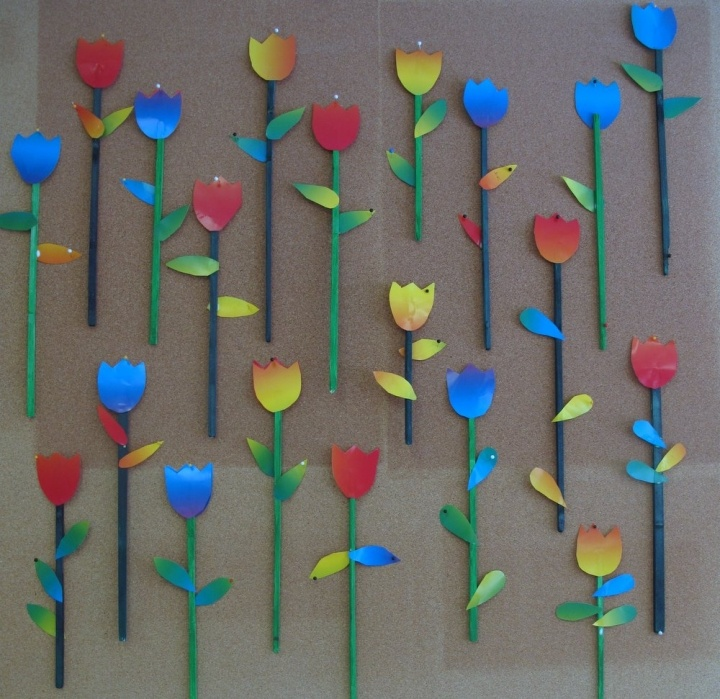 tulips with rolled paper stems