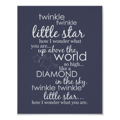Twinkle twinkle little star free printable in different colors