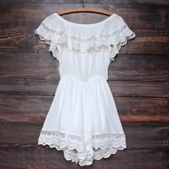 gauzy off the shoulder crochet lace boho romper in white - shophearts - 1