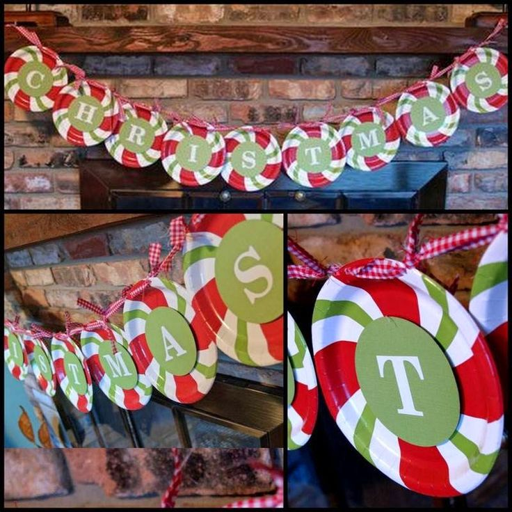 Turn Dollar Store Paper Plates Into This Cute Candy Cane Themed Christmas Garland