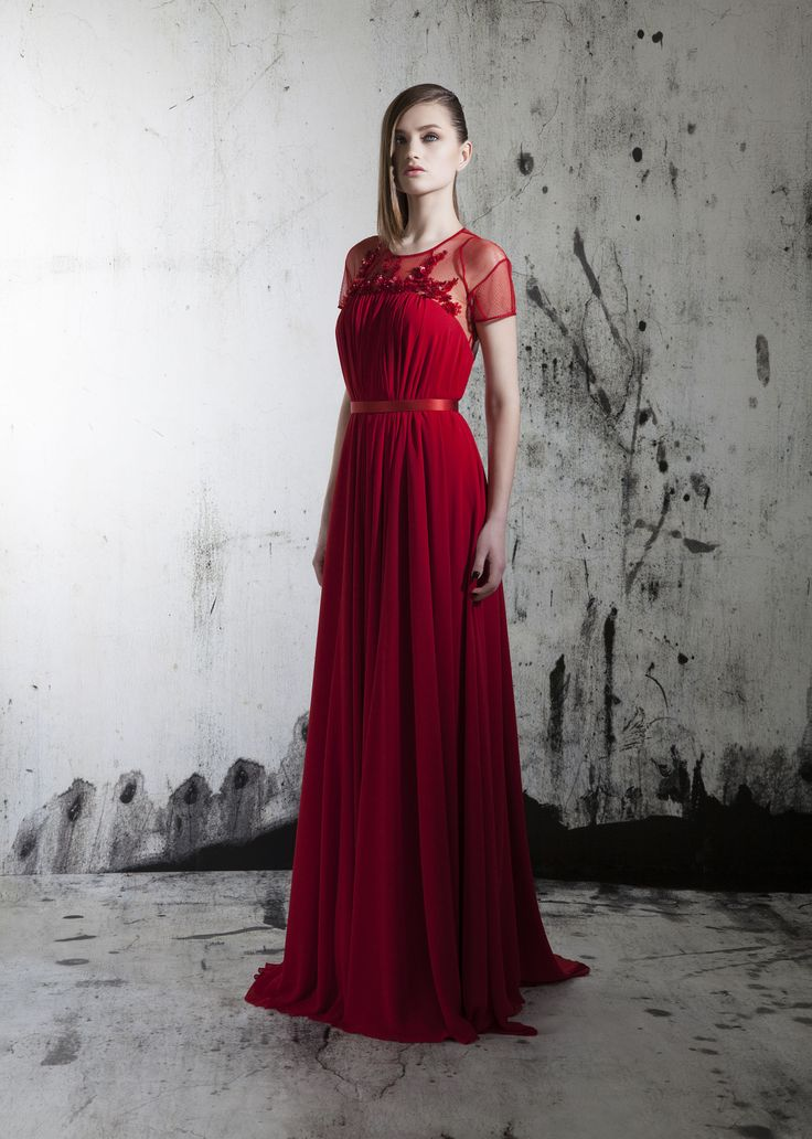 Red crepe evening gown occasion fashion charming beautiful