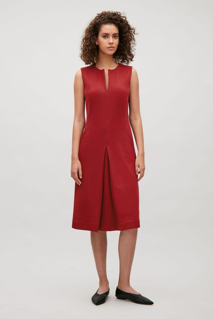 COS image 4 of Sleeveless dress with front pleat in Red