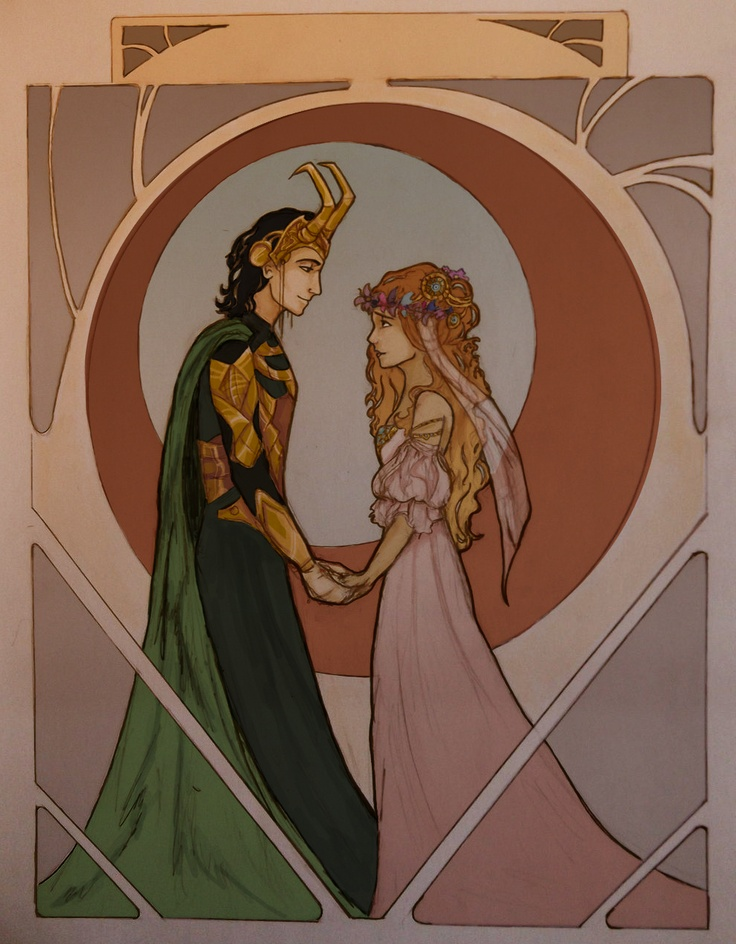 wolf-pirate55:    Loki and Sigyn's wedding in the Mucha style! art by me    art nouveau stil just makes this even more perfect <3