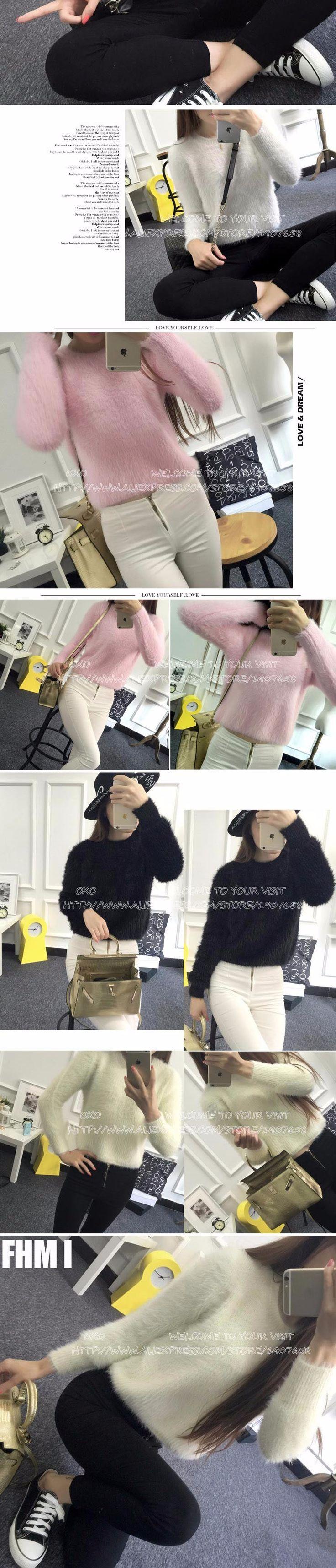 2016 зима мохер свитер женщин хеджирования короткий параграф женский Корейский свитер пальто толстые свободные одежды Колледж ветер C080 купить на AliExpress