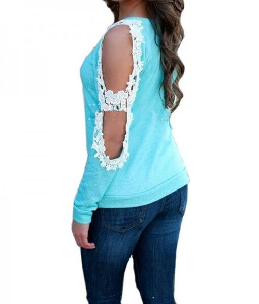 Long Sleeve Off The Shoulder Lace Sweater