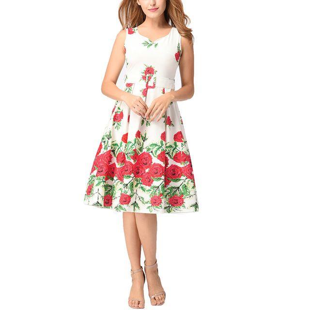 HimanJie S-2XL женское платье ретро Винтаж 1950 s 60 s рокабилли цветок качели летние платья Элегантный пояс печати туника Vestidos