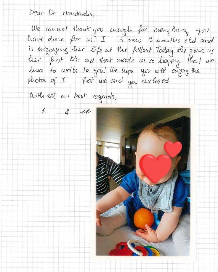 """Η μικρή Ι. έδωσε το πρώτο της φιλάκι! """"Αγαπητέ κε. Μαντούδη,  Το 'ευχαριστώ' είναι λίγο σε σχέση με όσα έχετε κάνει για εμάς.   Η Ι... είναι τώρα 9 μηνών και είναι ένα χαρούμενο μωρό.  Σήμερα μας έδωσε το πρώτο φιλάκι της 😘και αυτό μας έκανε τόσο χαρούμενους που έπρεπε να σας γράψουμε!  Ελπίζουμε να χαρείτε με τις φωτογραφίες της Ι... που σας στέλνουμε.  Με τις καλύτερες ευχές μας  L και E.""""  Να τους ζήσει! Είναι μια κούκλα!! Ευχαριστούμε για το όμορφο γράμμα και τις φωτογραφίες της!"""
