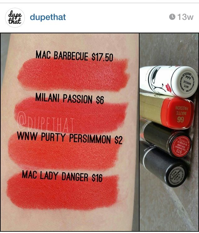 Mac lady danger>>> Milani and wet n wild dupes