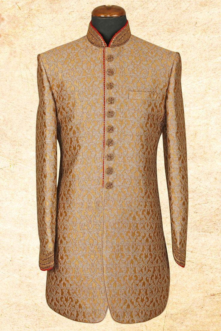 #Gold graceful #silk sherwani with bandhgala-IW606