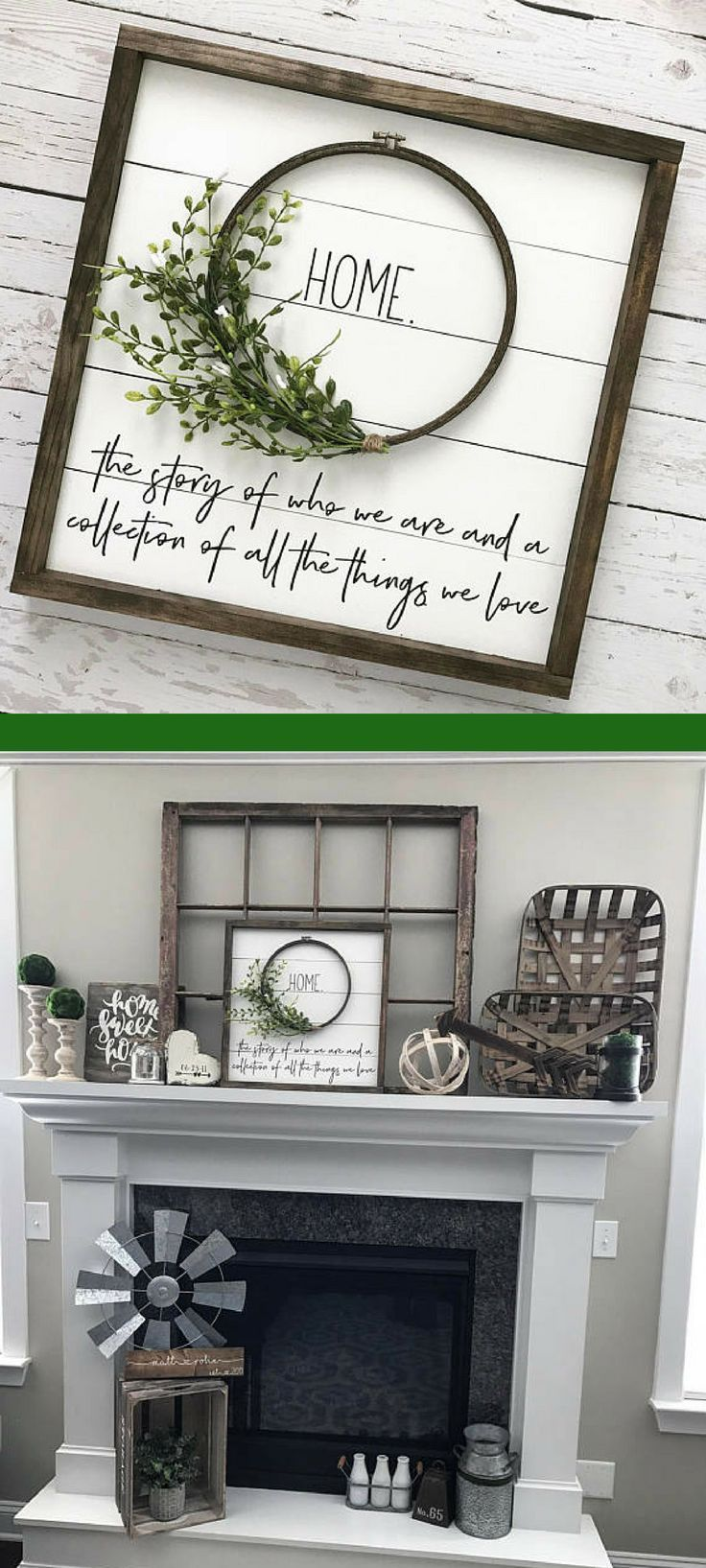 """Beautiful shiplap wreath """"HOME"""" sign. Would go great with farmhouse decor #ad"""