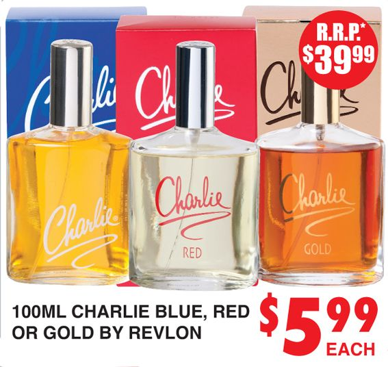 Perfume Charlie Blue, Red or Gold by Revlon http://dimmeys.com.au