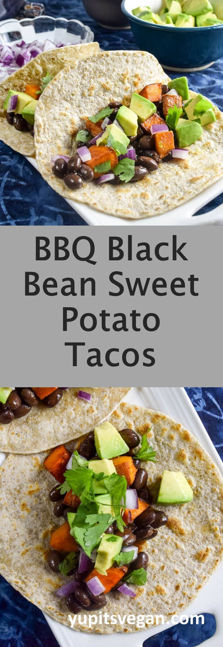 BBQ Sweet Potato and Black Bean Tacos | Yup, it's Vegan. Hearty tacos infused with BBQ flavor and full of fresh toppings. (vegan+gf)